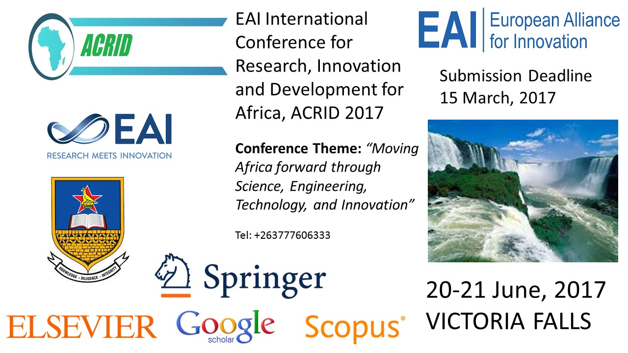 EAI International Conference for Research, Innovation and Development for Africa, ACRID 2017